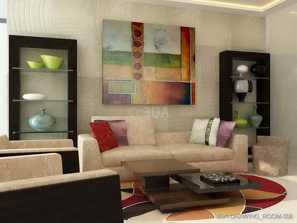 Drawing Room. 3DA Drawing Room Interiors Design