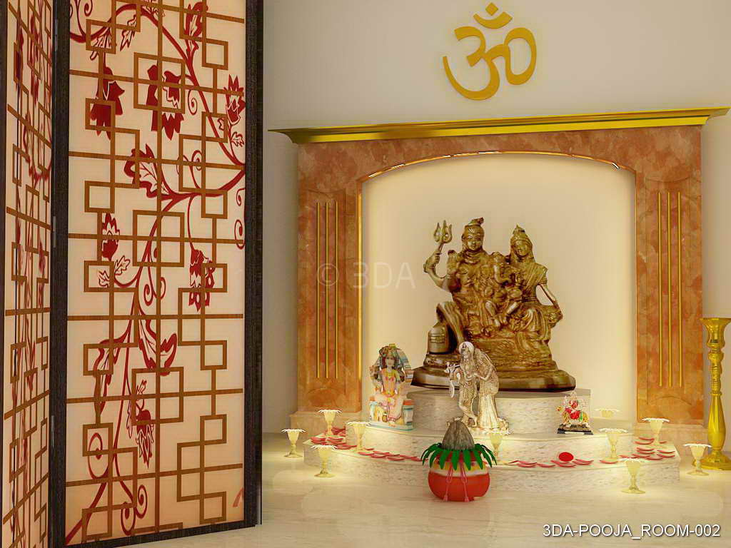 Pooja Room Design Ideas Part - 16: 3DA Pooja Room Interiors-design